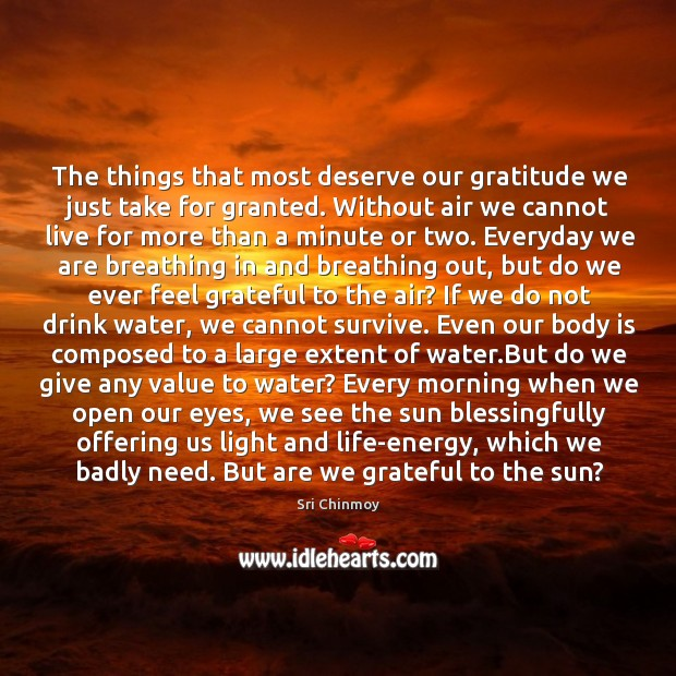 The things that most deserve our gratitude we just take for granted. Image