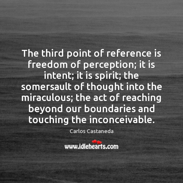 The third point of reference is freedom of perception; it is intent; Image