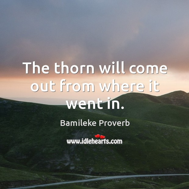 The thorn will come out from where it went in. Bamileke Proverbs Image