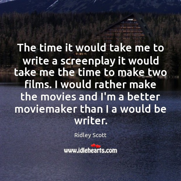 The time it would take me to write a screenplay it would Ridley Scott Picture Quote
