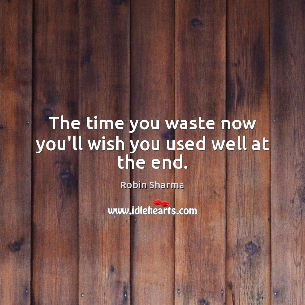 Image, The time you waste now you'll wish you used well at the end.