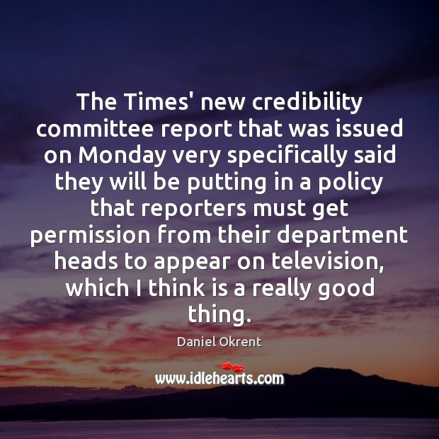 The Times' new credibility committee report that was issued on Monday very Image