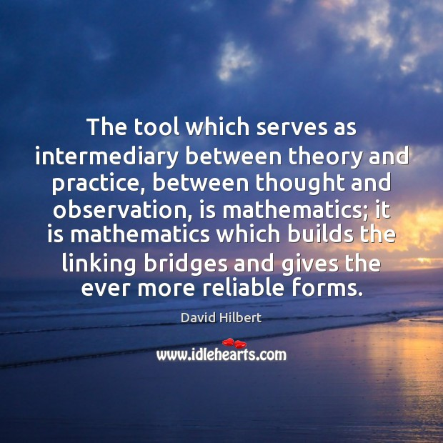 The tool which serves as intermediary between theory and practice, between thought David Hilbert Picture Quote