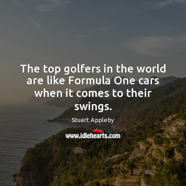 The top golfers in the world are like Formula One cars when it comes to their swings. Stuart Appleby Picture Quote