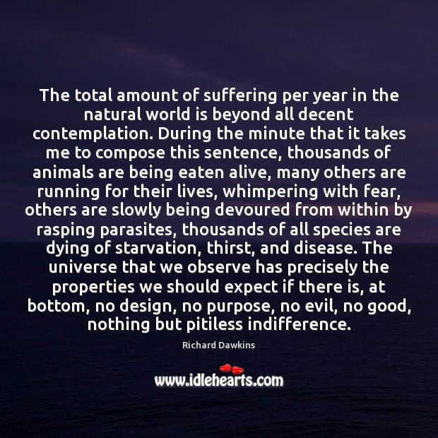 The total amount of suffering per year in the natural world is Design Quotes Image