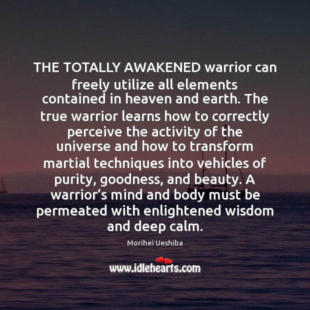 THE TOTALLY AWAKENED warrior can freely utilize all elements contained in heaven Morihei Ueshiba Picture Quote