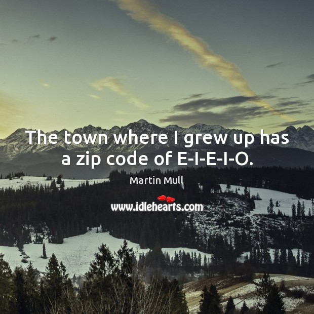The town where I grew up has a zip code of E-I-E-I-O. Image