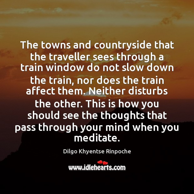 The towns and countryside that the traveller sees through a train window Dilgo Khyentse Rinpoche Picture Quote