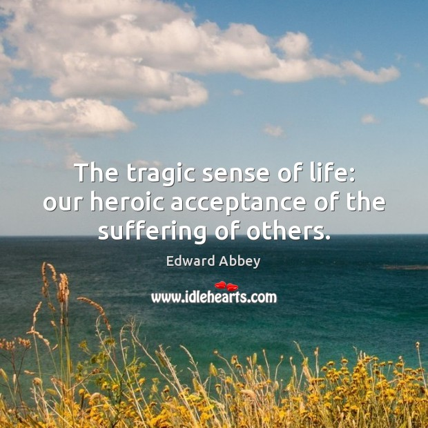 Image, The tragic sense of life: our heroic acceptance of the suffering of others.