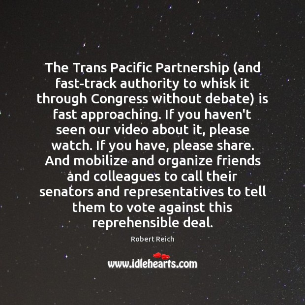 The Trans Pacific Partnership (and fast-track authority to whisk it through Congress Image