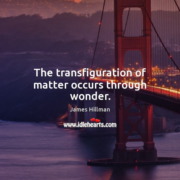 The transfiguration of matter occurs through wonder. James Hillman Picture Quote