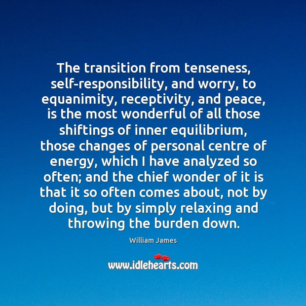 The transition from tenseness, self-responsibility, and worry, to equanimity, receptivity, and peace, Image