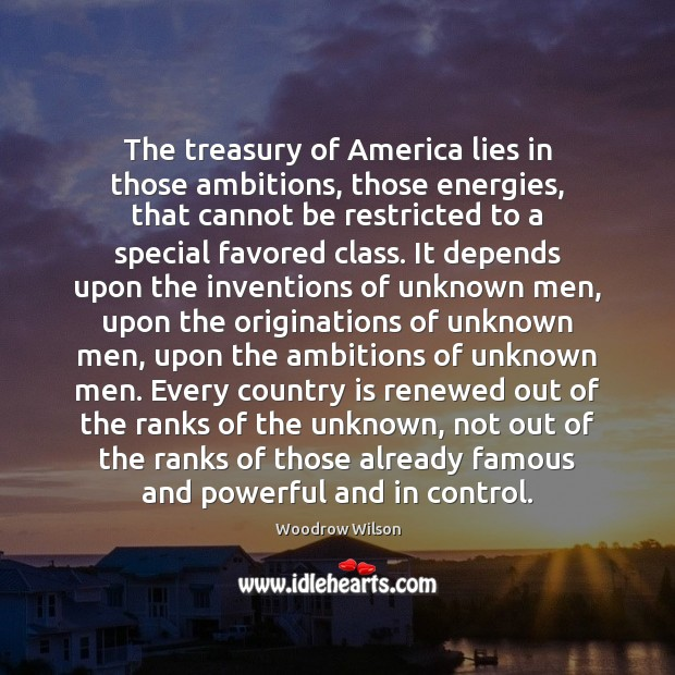 Image, The treasury of America lies in those ambitions, those energies, that cannot