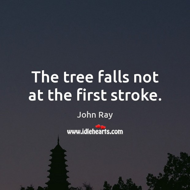 The tree falls not at the first stroke. John Ray Picture Quote