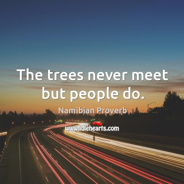 The trees never meet but people do. Namibian Proverbs Image
