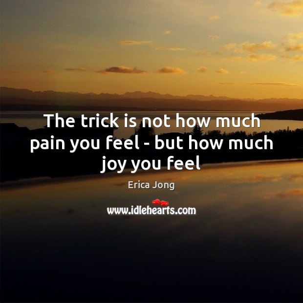 The trick is not how much pain you feel – but how much joy you feel Erica Jong Picture Quote
