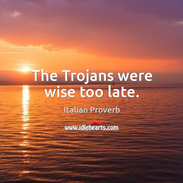 Image, The trojans were wise too late.