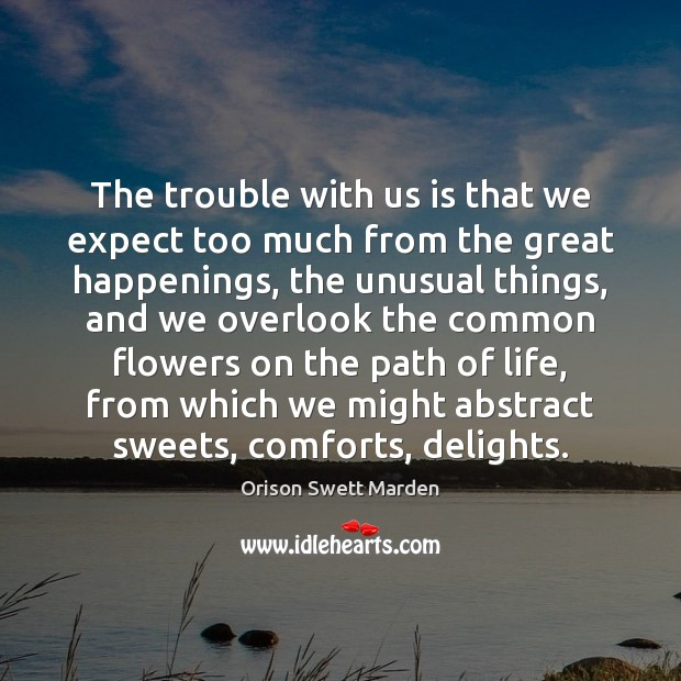 The trouble with us is that we expect too much from the Orison Swett Marden Picture Quote