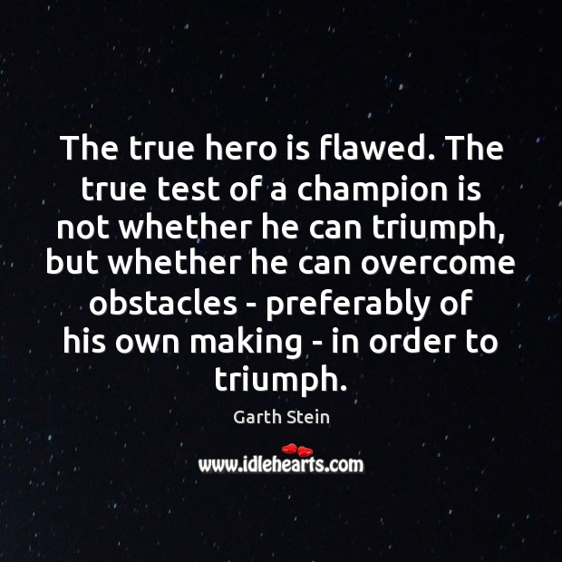 The true hero is flawed. The true test of a champion is Garth Stein Picture Quote
