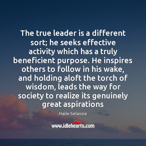 The true leader is a different sort; he seeks effective activity which Haile Selassie Picture Quote