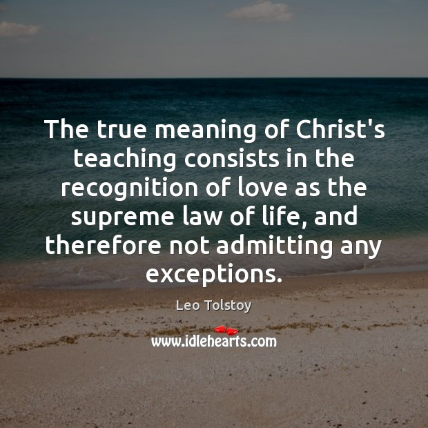 The true meaning of Christ's teaching consists in the recognition of love Image