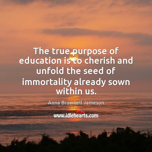 Image, The true purpose of education is to cherish and unfold the seed