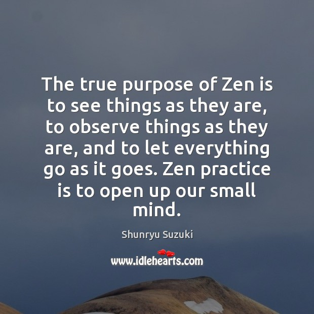 Image, The true purpose of Zen is to see things as they are,