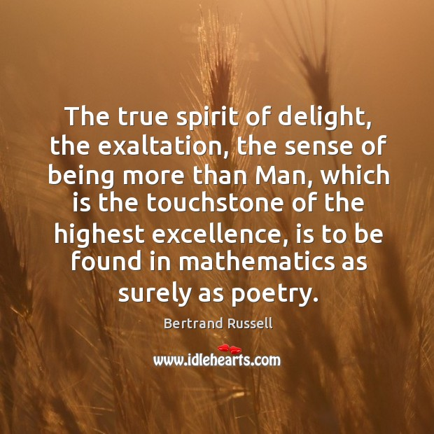 The true spirit of delight, the exaltation, the sense of being more than man, which is the Image
