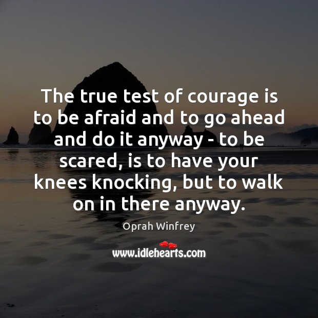 Image, The true test of courage is to be afraid and to go