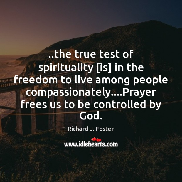 Image, ..the true test of spirituality [is] in the freedom to live among