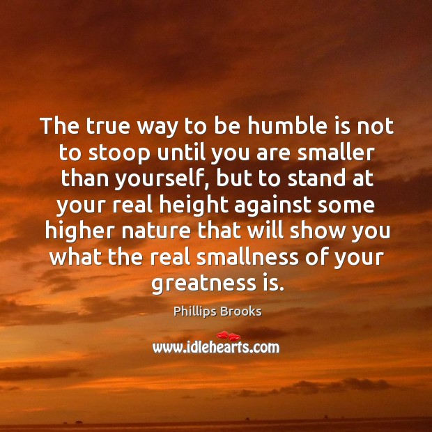 The true way to be humble is not to stoop until you are smaller than yourself Image