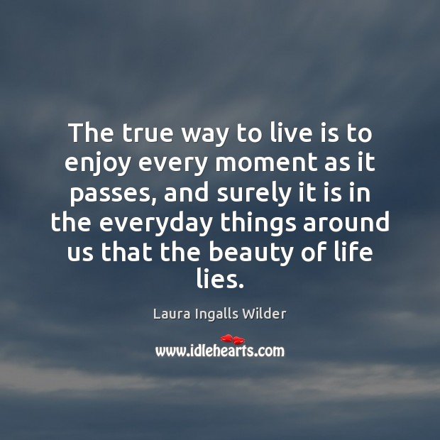 Image, The true way to live is to enjoy every moment as it