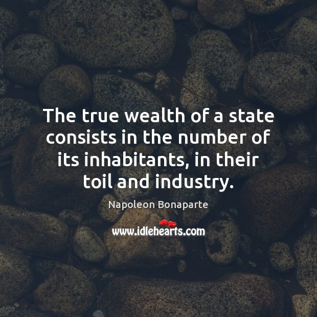 The true wealth of a state consists in the number of its Napoleon Bonaparte Picture Quote