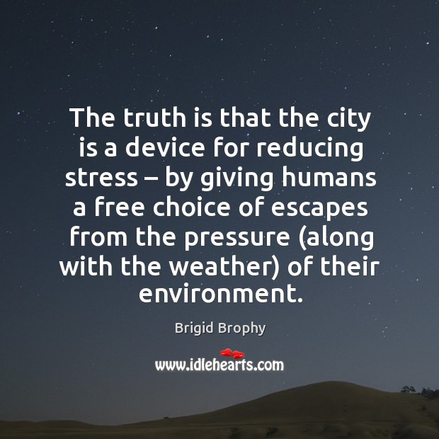 Image, The truth is that the city is a device for reducing stress