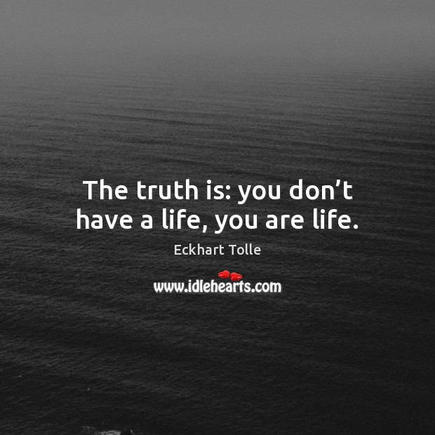 The truth is: you don't have a life, you are life. Image