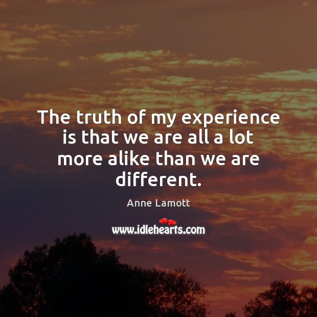 The truth of my experience is that we are all a lot more alike than we are different. Anne Lamott Picture Quote