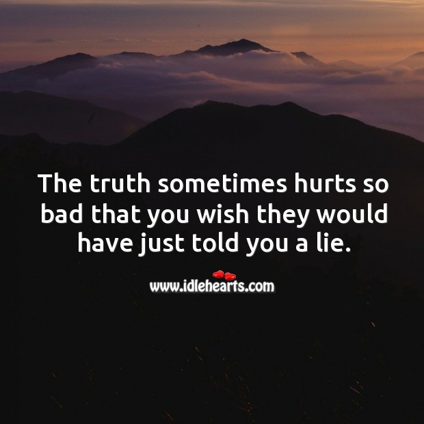 The truth sometimes hurts so bad that you wish they would have just told you a lie. Image