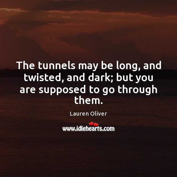 The tunnels may be long, and twisted, and dark; but you are supposed to go through them. Lauren Oliver Picture Quote