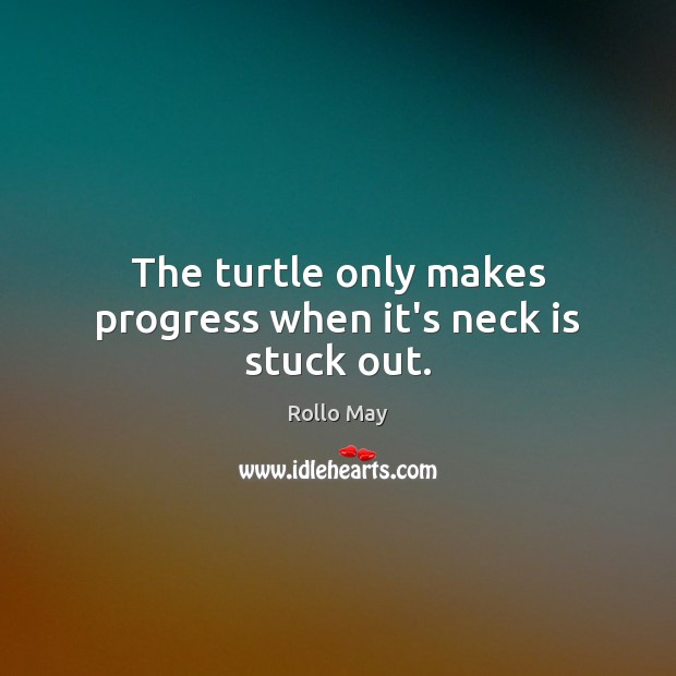 The turtle only makes progress when it's neck is stuck out. Rollo May Picture Quote