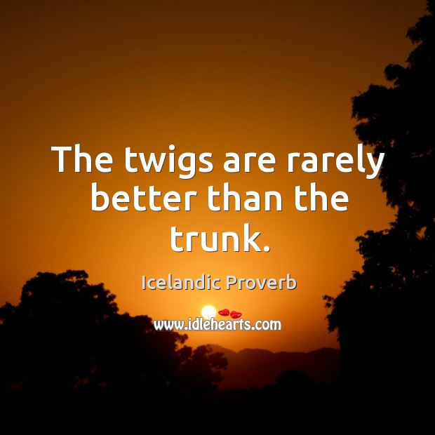 The twigs are rarely better than the trunk. Icelandic Proverbs Image
