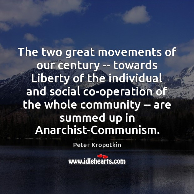 The two great movements of our century — towards Liberty of the Image