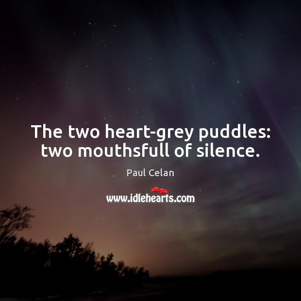 The two heart-grey puddles: two mouthsfull of silence. Image