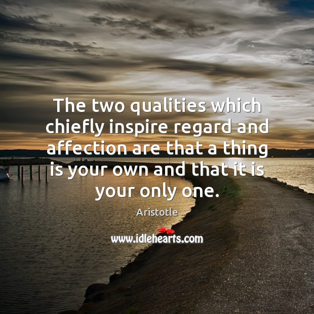 Image, The two qualities which chiefly inspire regard and affection are that a