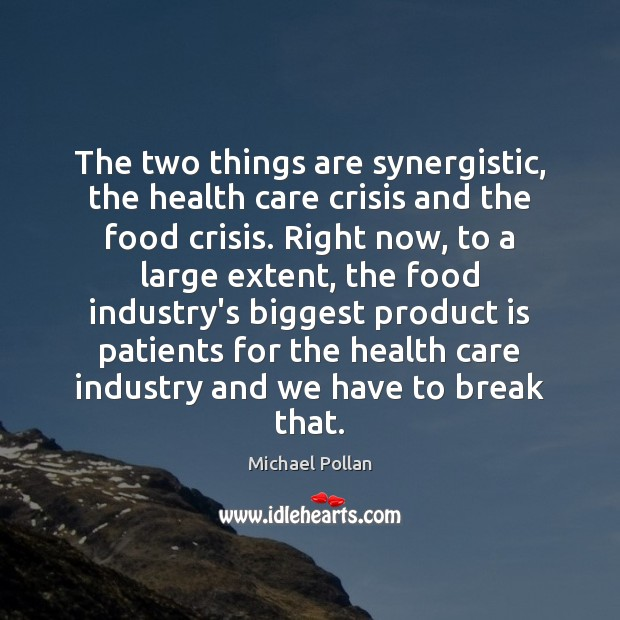 The two things are synergistic, the health care crisis and the food Michael Pollan Picture Quote