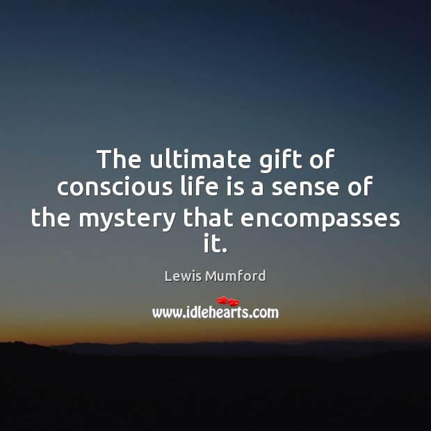 The ultimate gift of conscious life is a sense of the mystery that encompasses it. Image