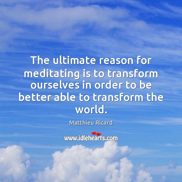 The ultimate reason for meditating is to transform ourselves in order to Matthieu Ricard Picture Quote
