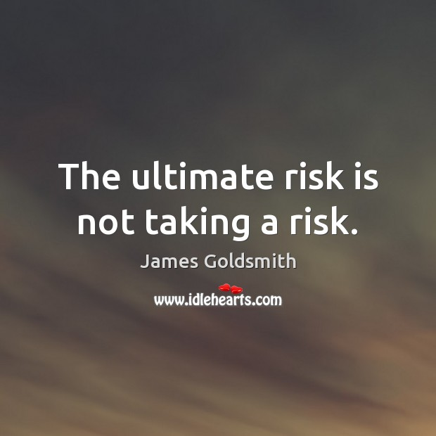 The ultimate risk is not taking a risk. Image