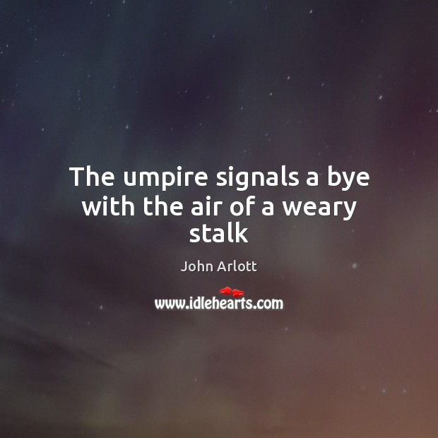 The umpire signals a bye with the air of a weary stalk Image