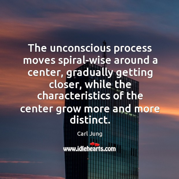 The unconscious process moves spiral-wise around a center, gradually getting closer, while Image