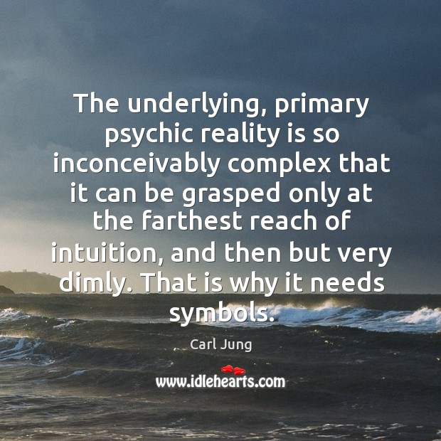 Image, The underlying, primary psychic reality is so inconceivably complex that it can